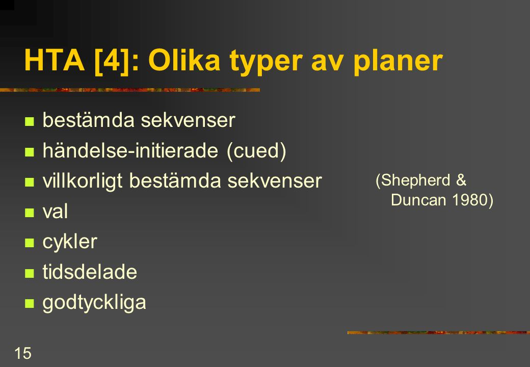 HTA [4]: Olika typer av planer